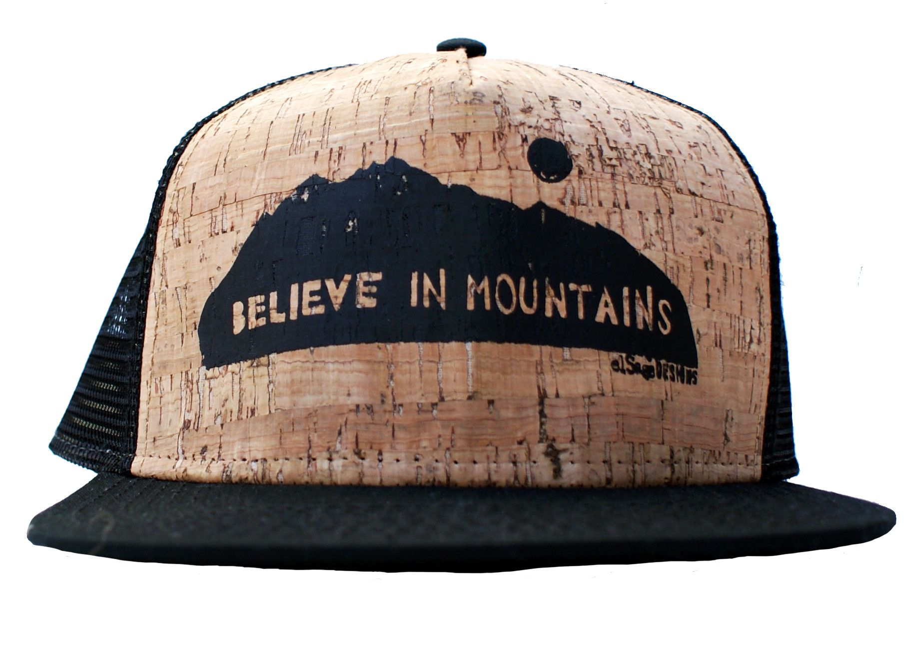 40997be580914 An ode to mountain love on a unique handprinted hat. You won t want ...