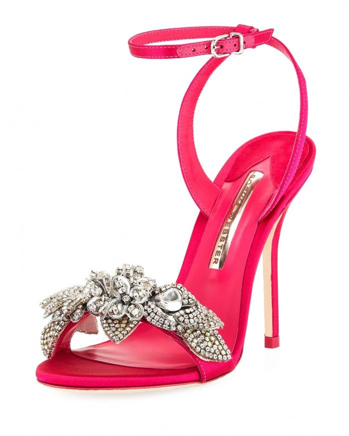 Sophia Webster Lilico Crystal Satin Sandals, Bright Pink