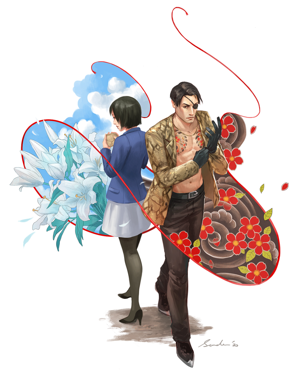 Yakuza 0 Majima And Makoto By Sandara On Deviantart Yakuza Anime Character Art Anime