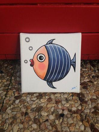 Un petit poisson bleu  peint à l'acrylique sur une toile de dimensions 15 cm x 15 cm et verni.  avec collage de rondelles métalliques   Modèle unique et original protégé - 20238896