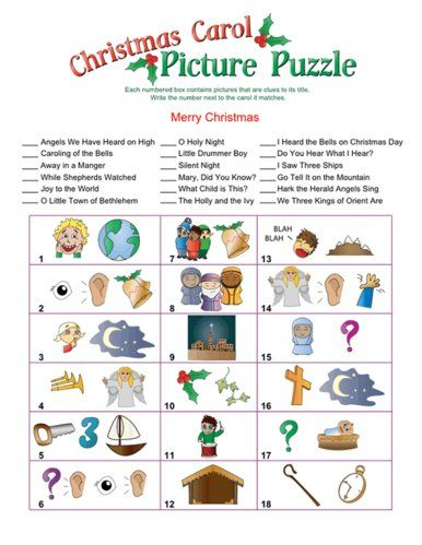 Christmas Song Picture Game Christmas Crafts And Treats