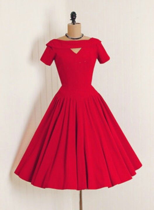 1950's dress. Lady in Red! Modified (updated?) neckline.