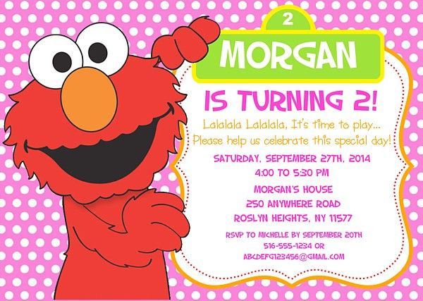 Elmo birthday party invitations sesame street kids for Elmo template for invitations