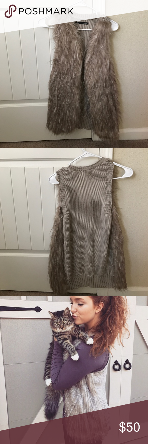 Faux fur vest size small Gorgeous faux fur vest! I looked forever to find one I liked, and that picture I have of me wearing it is the only time I wore it! It's a small, could fit a medium or small. Maurices Other