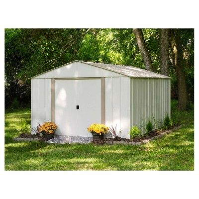 Oakbrook Steel Storage Shed 10 X 14 Arrow Storage Products Grey Metal Storage Sheds Garden Storage Shed Storage Shed Kits