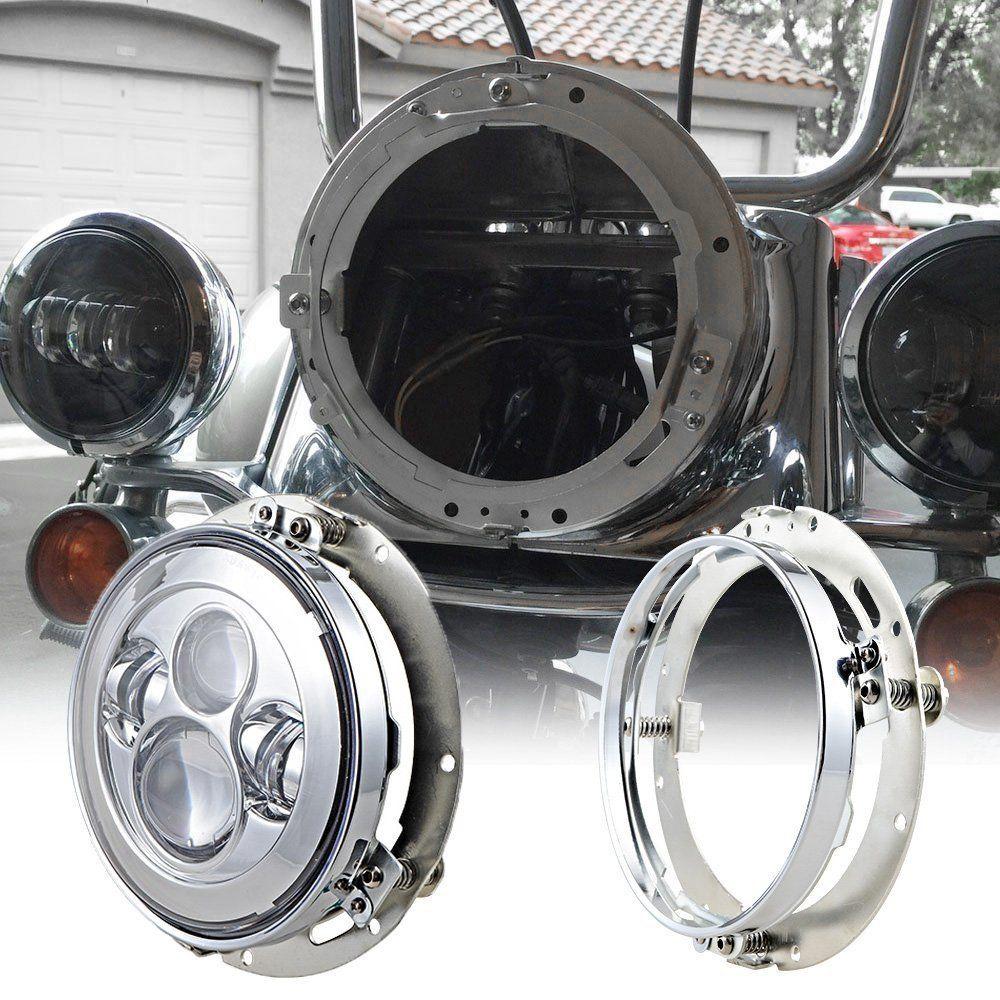 7/'/' Round LED Headlight Mounting Bracket Ring For Jeep Wrangler Harley US