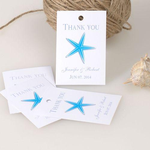 Blue Starfish Thank You Card Summer Wedding Favor Tag Ewfr022 Wedding Favor Tags Summer Wedding Favors Wedding Favors