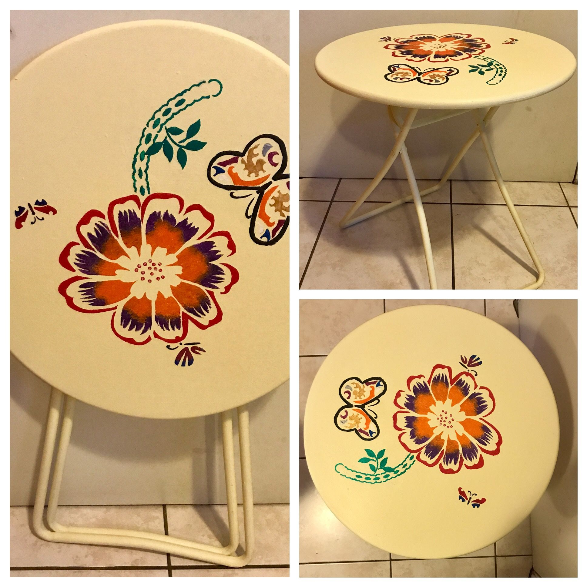 Special project for a special sister. Vintage metal folding patio table given a makeover with colorful flowers & 3 special butterflies.  Follow me on FB at the link below https://m.facebook.com/groverscornerlasvegas/