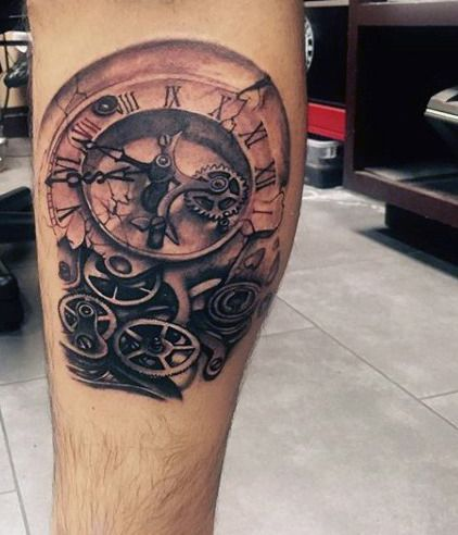 grandfather clock face tattoo. manly old clock tattoos for guys grandfather face tattoo