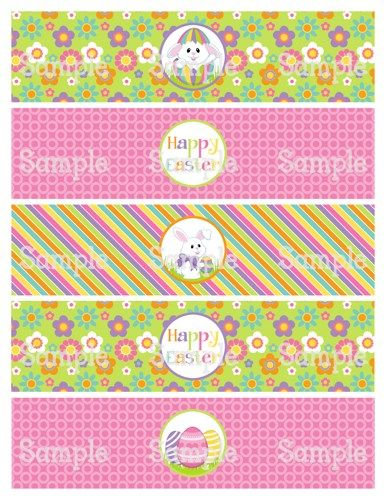 Printable M2M Cute Easter Bunnies Water Bottle Label Wrappers - water bottle label template