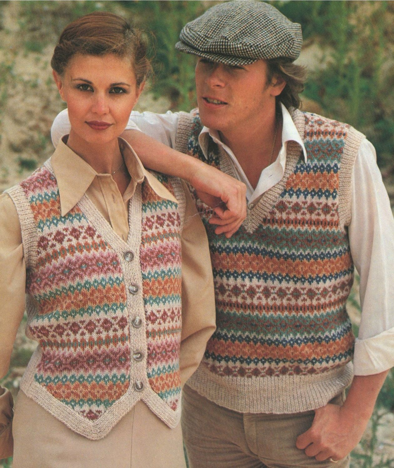 Womens and Mens Fair Isle Pullover and Waistcoat PDF Knitting ...