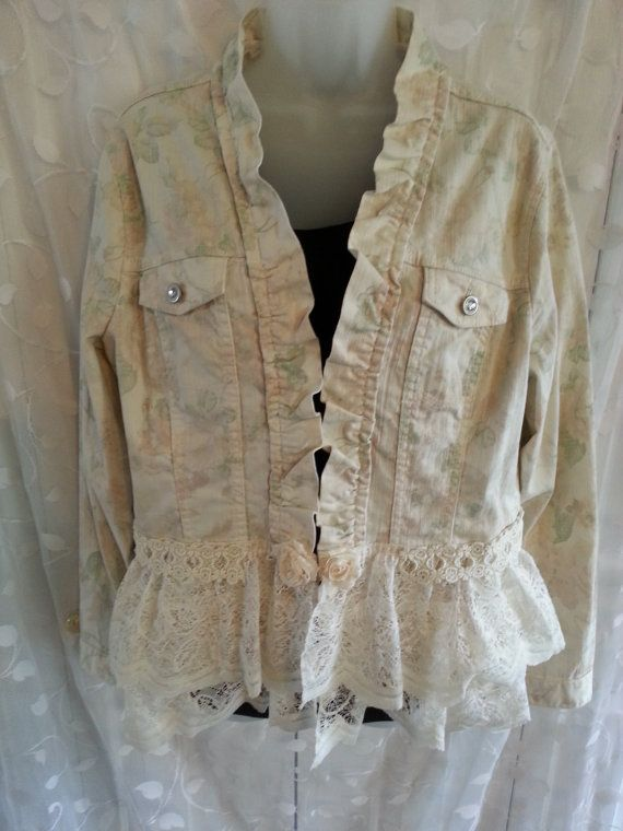 Pale Yellow Flower Patterned Denver Hayes Jean Jacket Upcycled with Vintage Lace.  Size L. Unique. One of a Kind.  FREE SHIPPING