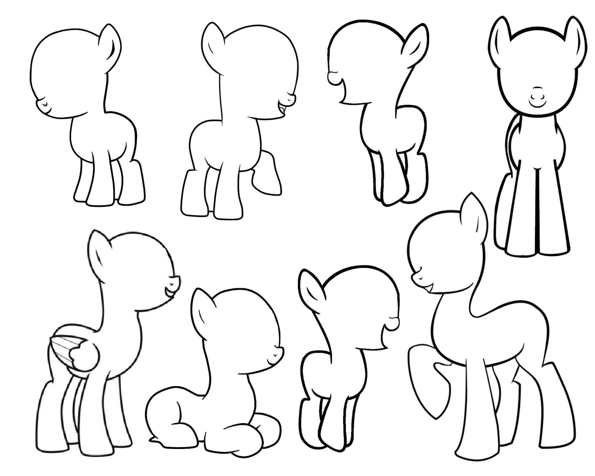 My Little Pony Coloring Pages Cutie Mark : Blank mlp bases for making your own pony persona