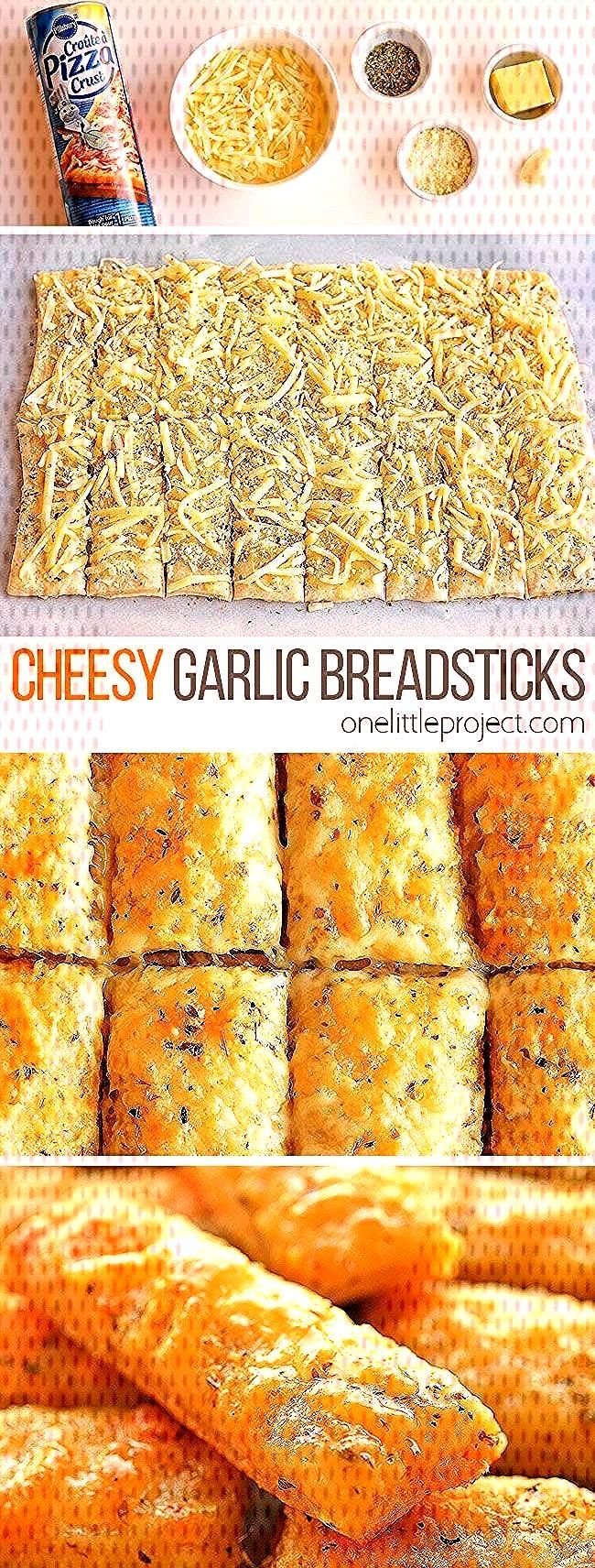 Easy Cheesy Garlic Breadsticks    These cheesy garlic breadsticks are so easy to make and they