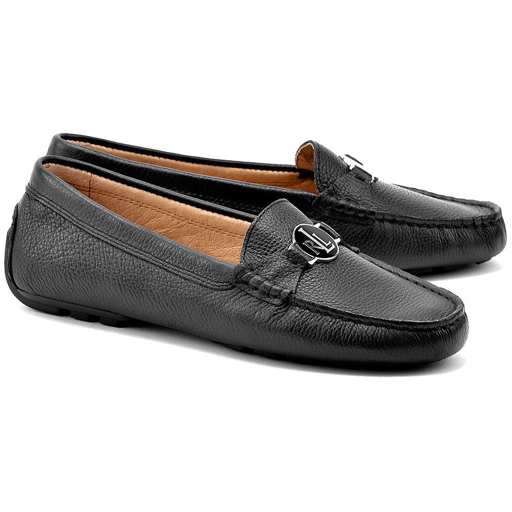 Ralph Lauren Carley Czarne Skorzane Mokasyny Damskie Buty Kobiety Mokasyny Mivo Dress Shoes Men Loafers Men Oxford Shoes