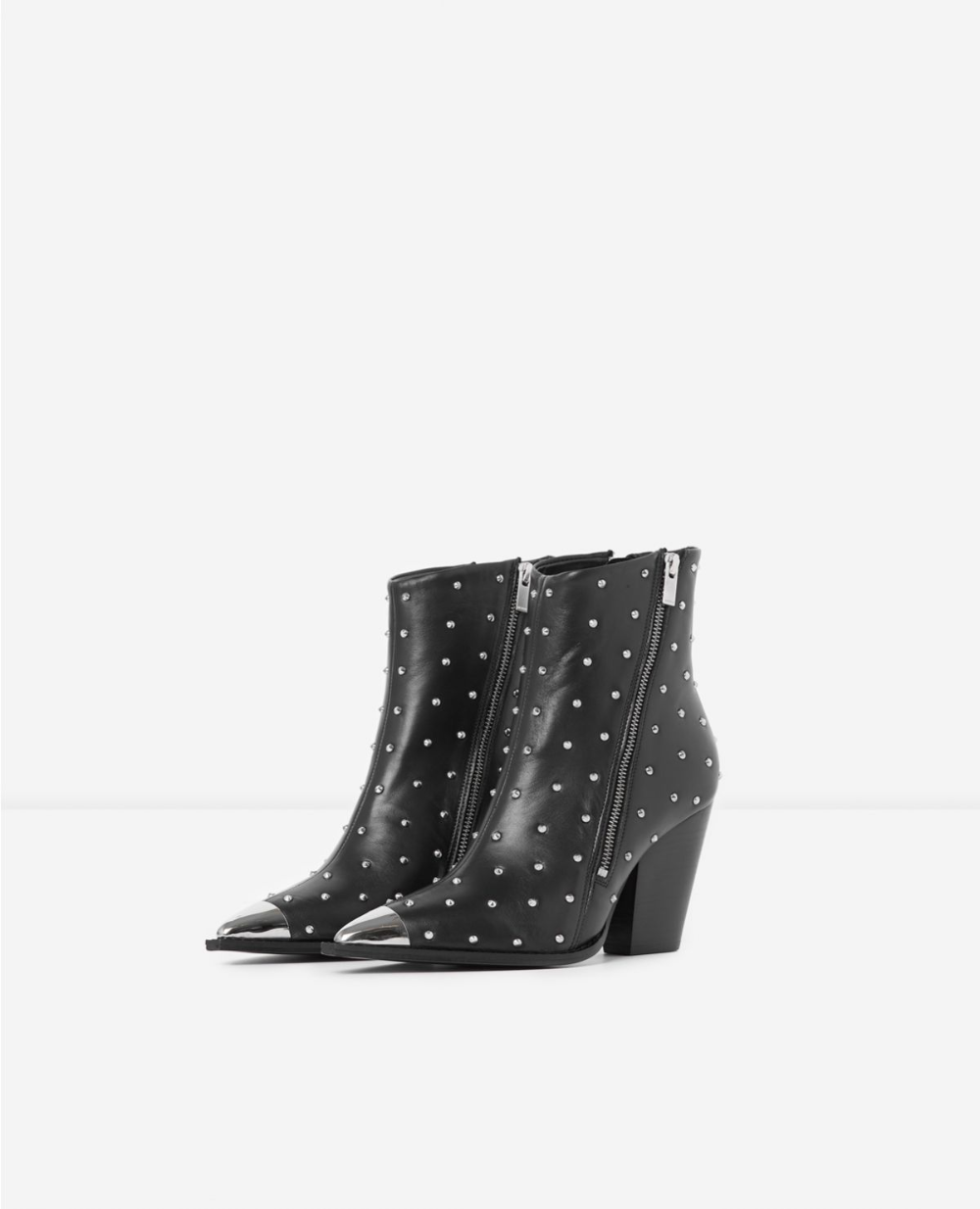 bottines noir cuir metal