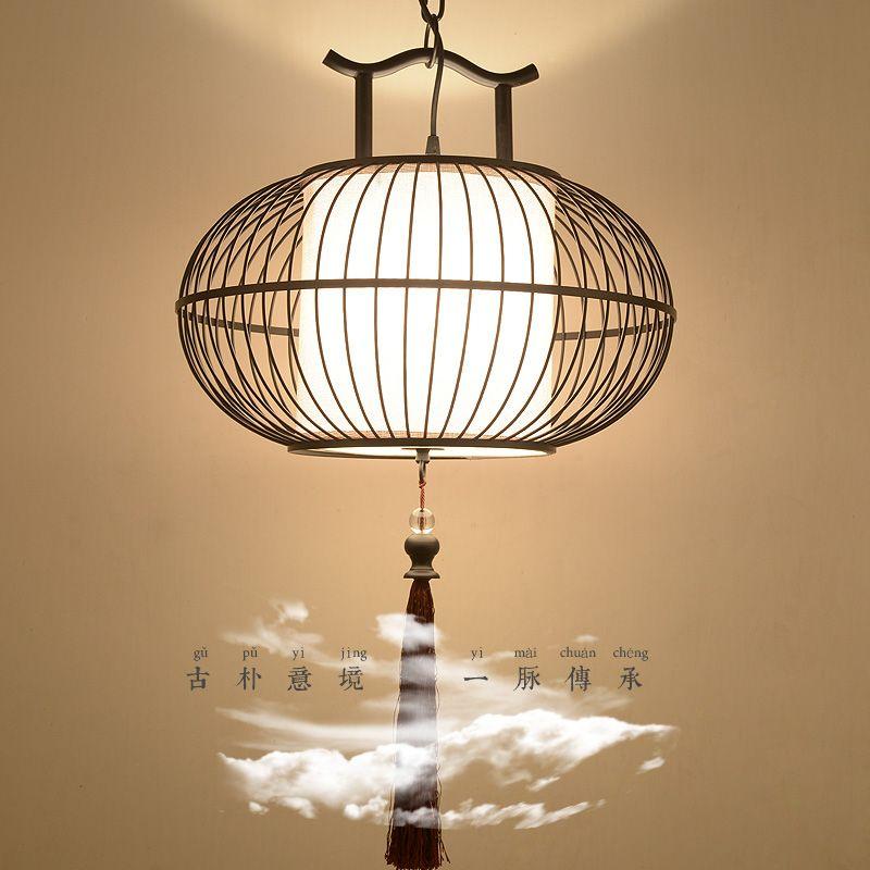 新中式吊灯复古铁艺鸟笼灯酒店茶楼餐厅灯具会所阳台灯现代