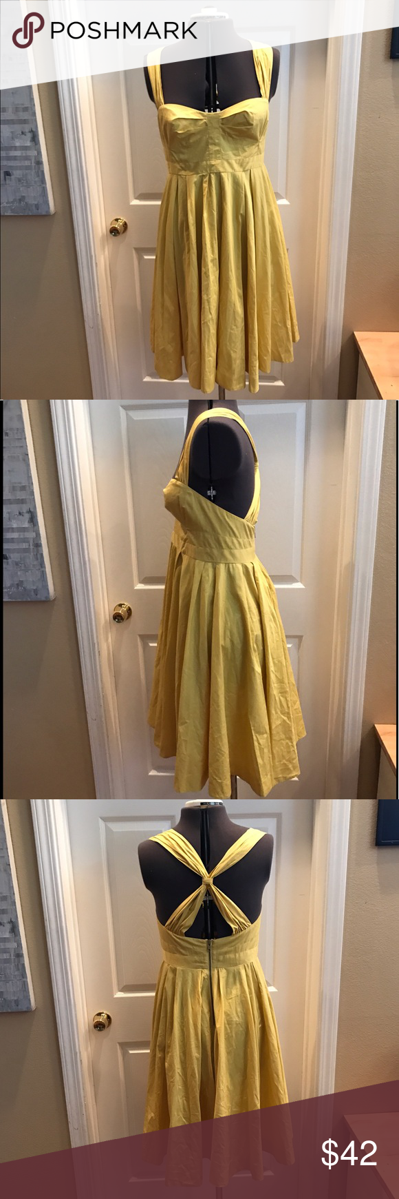 French Connection mustard swing dress Beautiful retro French Connection mustard swing dress. Great back design and cute exposed zipper French Connection Dresses Midi