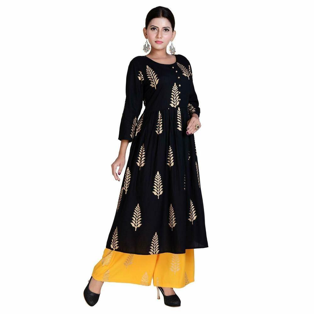 Details about  /Women Indian kurta dress rayon palazo bottomTop kurti cotton blouse Combo Ethnic