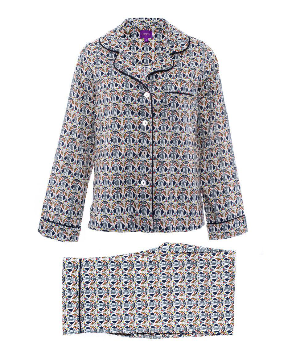 ce72ea550f0 Liberty Print Mauverina Cotton Long Pyjama Set