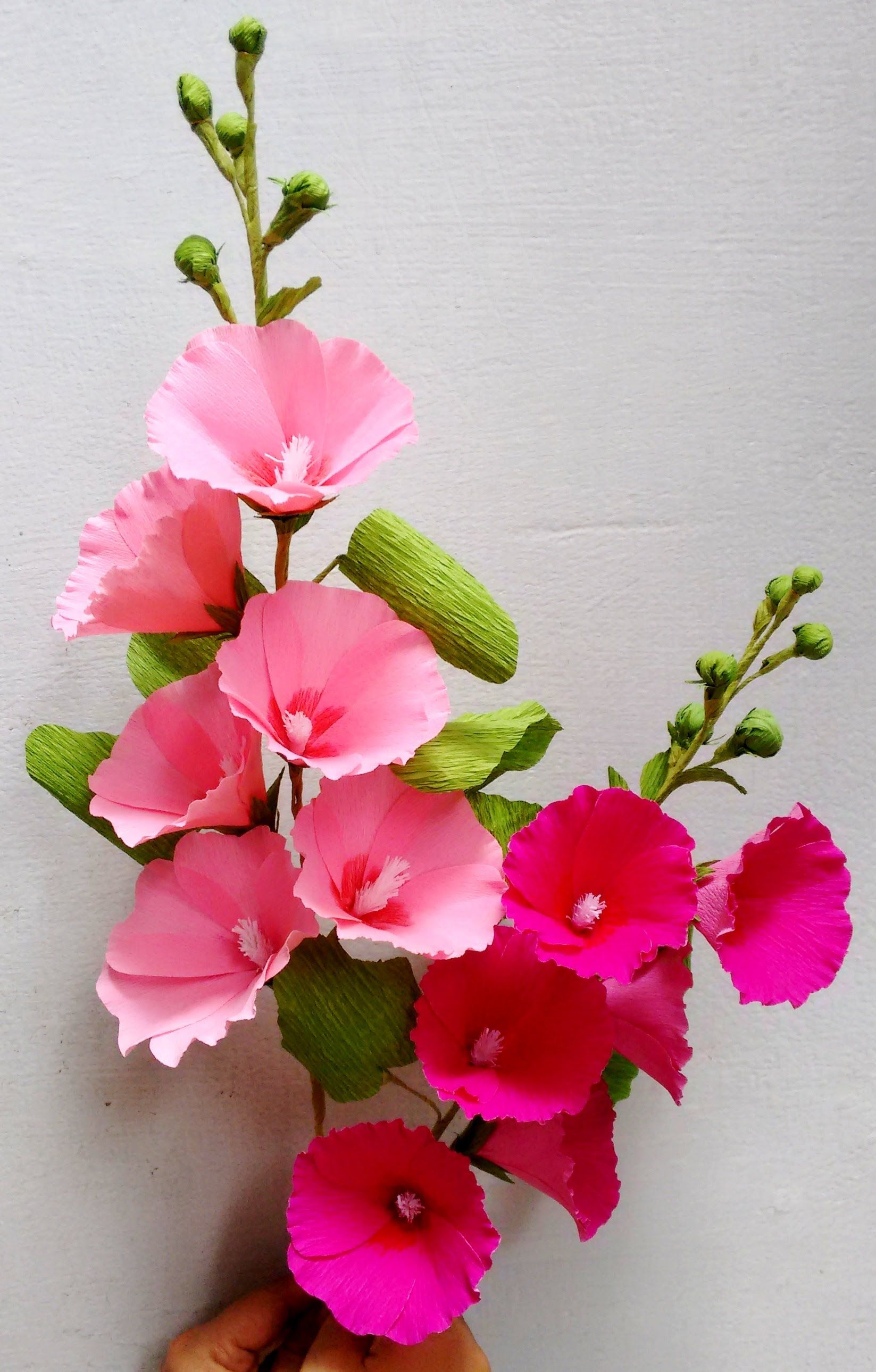 Paper flowers hollyhock mallows papierov kvety pinterest a tall beautiful flower stem made of crepe paper which is easily available please feel free to dhlflorist Choice Image