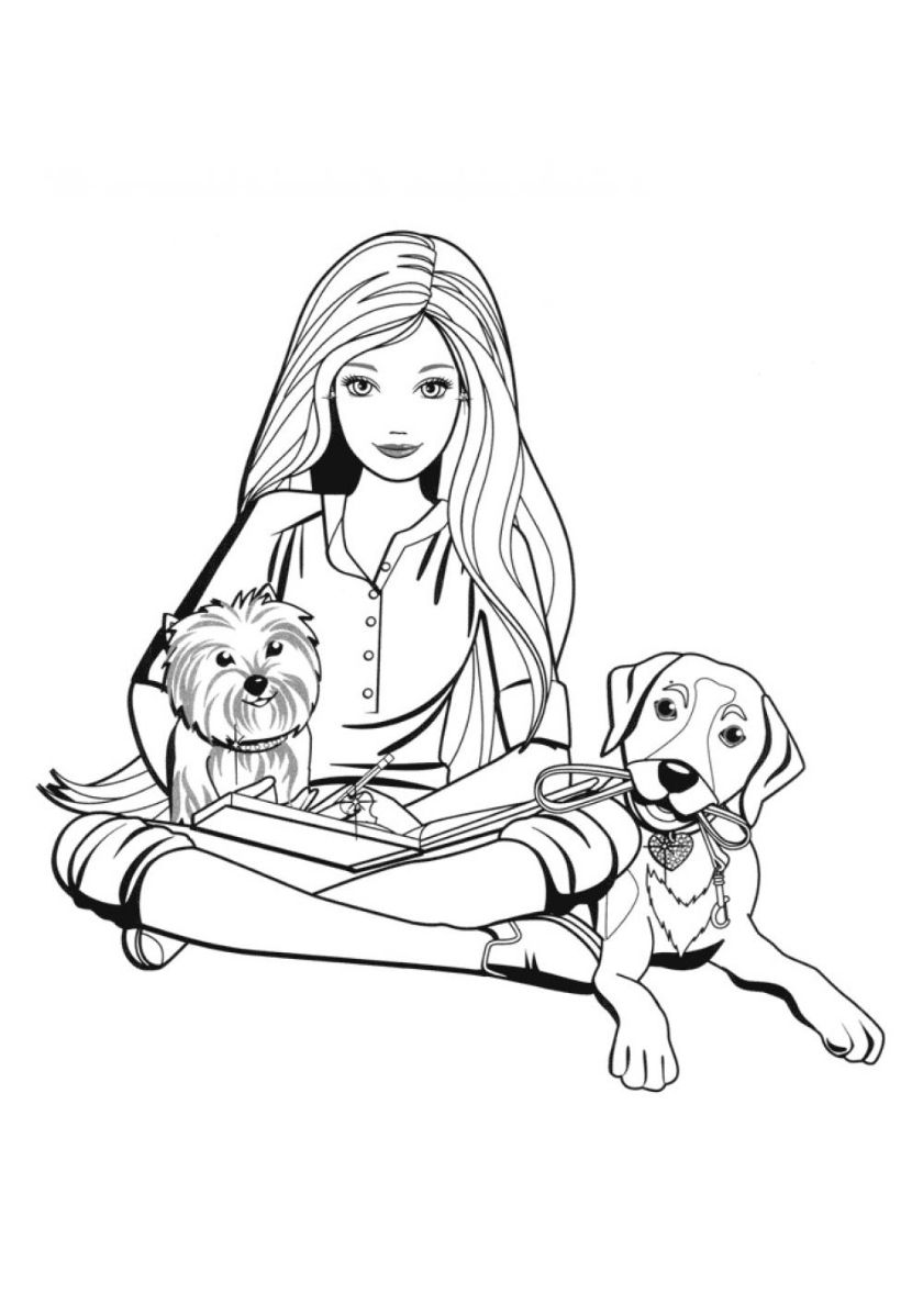 Barbie With Pets High Quality Free Coloring From The Category Barbie More Printable Pictures O Dog Coloring Page Cute Coloring Pages Cartoon Coloring Pages