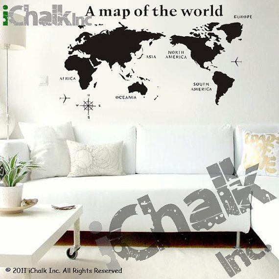 A map of the world chalkboard sticker wall decal for by ichalkinc a map of the world chalkboard sticker wall decal for home or office modern chalk blackboard world map chalkboard gumiabroncs Images