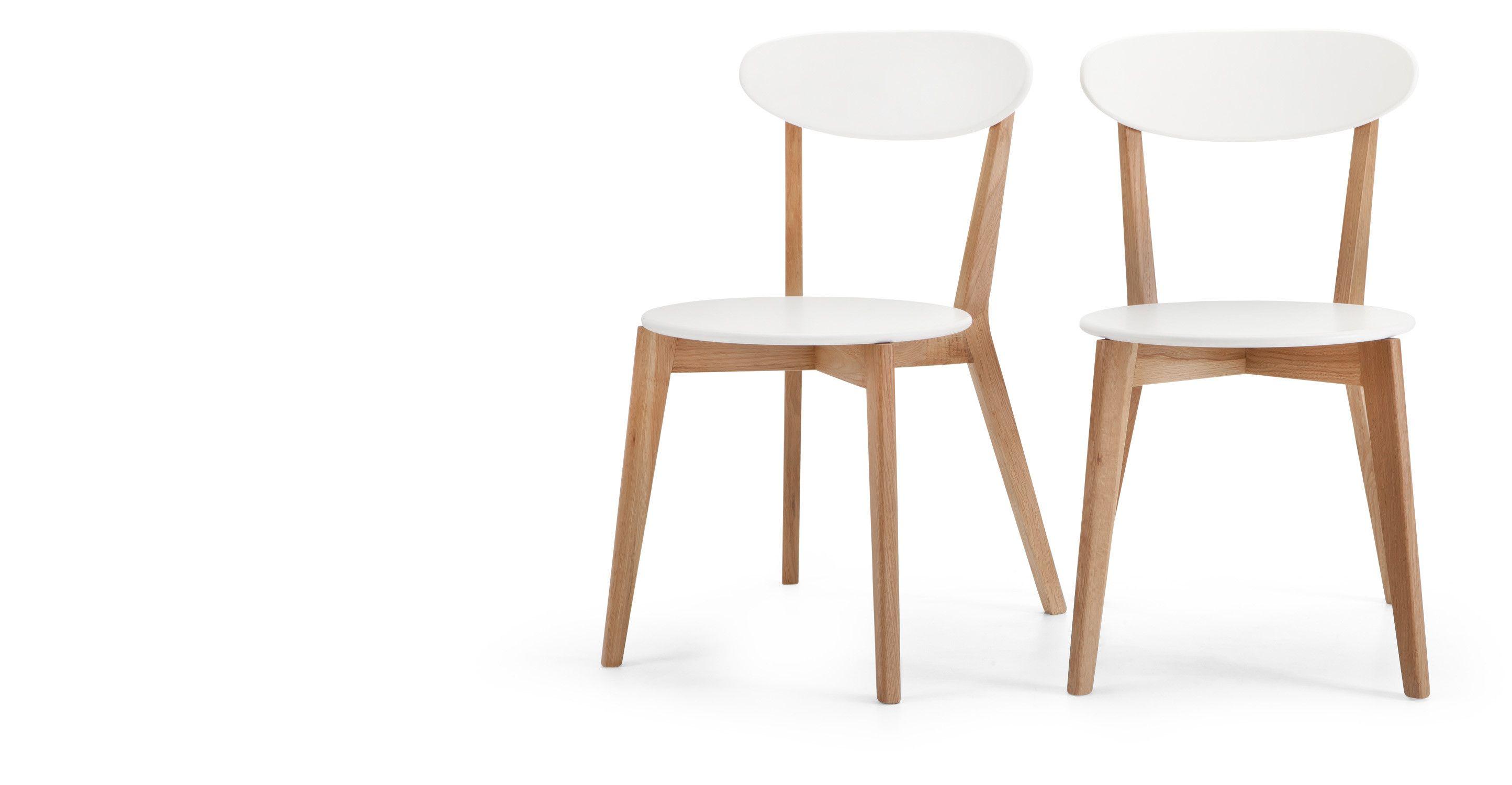 2 x Fjord Esszimmerstühle, Weiß und Eiche | Fjord, Eiche und Stuhl