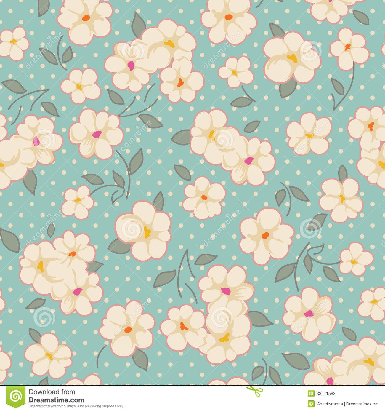 Blue Vintage Floral Background Vintage floral on blue ...
