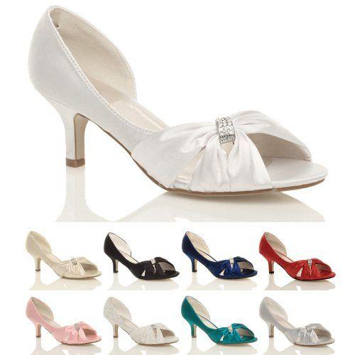 Womens Ladies Wedding Evening Low Kitten Heel Peeptoe Shoes Sandals Size 3 36 Ajvani Http Www Wedding Shoes Heels Bridal Shoes Low Heel Womens Evening Shoes