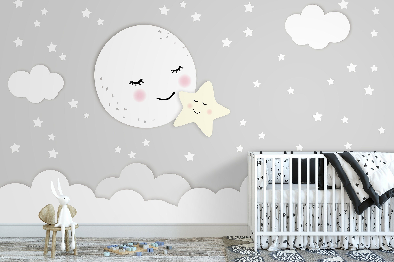 Tapete, Fototapete, Kinderzimmer, Mond, Stern, Babyzimmer
