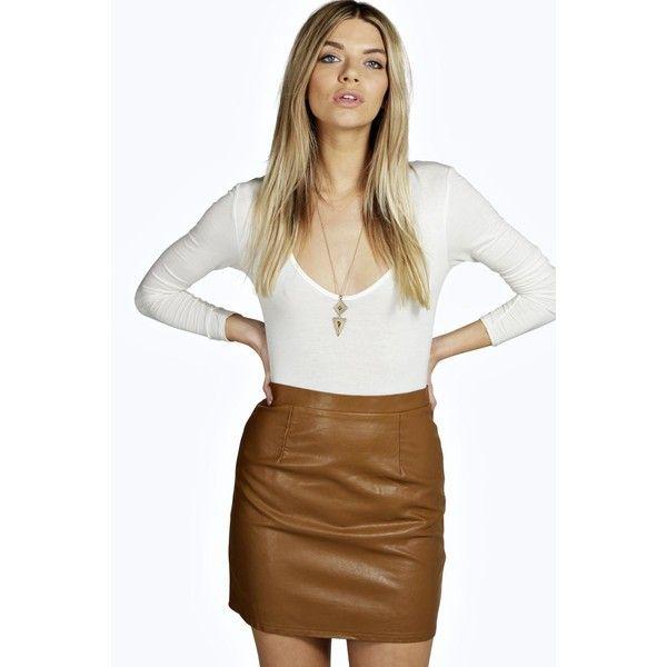 Boohoo Haviva Leather Look A Line Mini ($16) ❤ liked on Polyvore featuring skirts, mini skirts, tan, a line maxi skirt, maxi skirts, white skirt, midi skirt and tan mini skirt