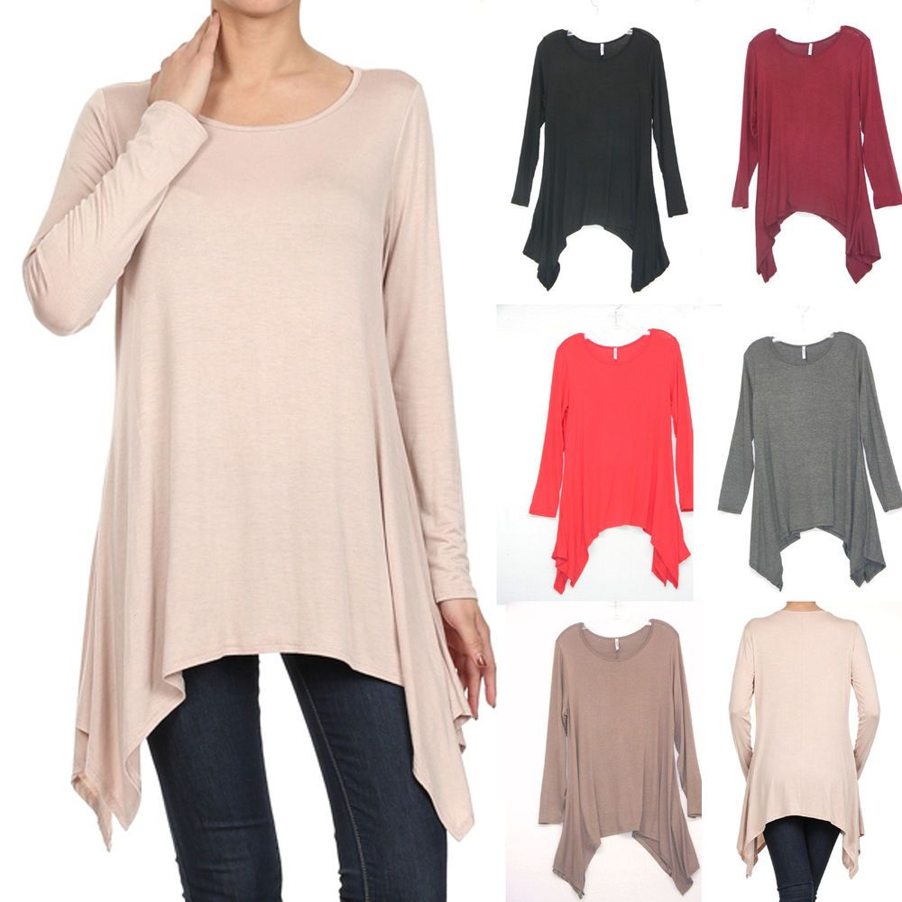 Solid PIKO Style Boat Neck Long Sleeve Loose Asymmetric Tunic Top S-3X GT5082 #RM #Tunic #Casual