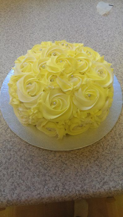 Yellow Rose Cake with Silver bead centers. ~ all edible