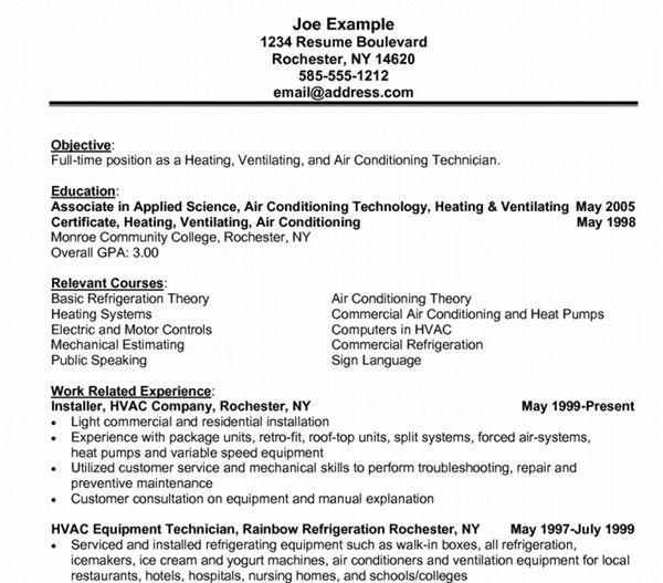 Resume Templates Hvac #resume #ResumeTemplates #templates Resume - hvac technician resume sample