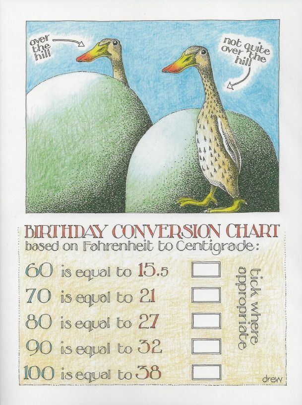 Birthday Conversion Chart By Simon Drew Greeting Card Companies Funny Birthday Cards Conversion Chart