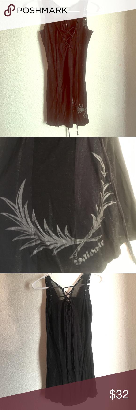 V front black dress graphic