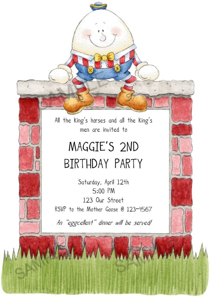 mother goose fairy tale humpty dumpty birthday invitation | Mother ...