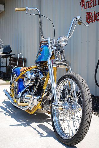 Springer Front End And Ape Hangers Harley Davidson Bikes Ape Hangers Bobber Motorcycle