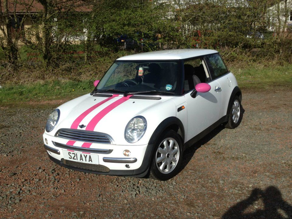 Pink Mini Cooper Full Gloss White Wrap
