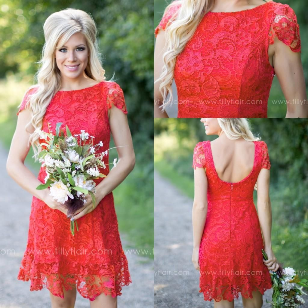Cheap red full lace short bridesmaid dresses cheap western country