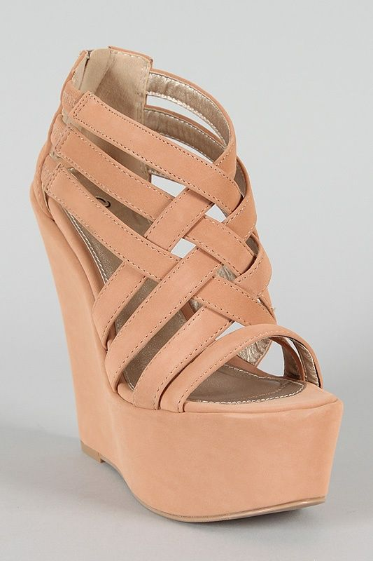 Qupid Kunis-10 Strappy Open Toe Platform Wedge $30.80 shoes