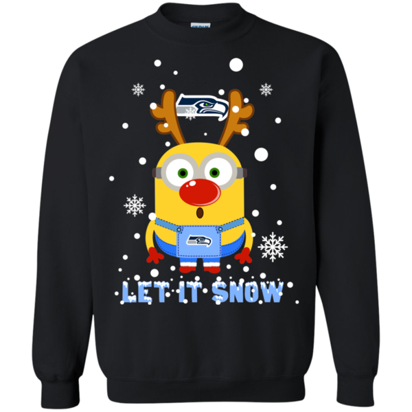 Minion Seattle Seahawks Ugly Christmas Sweaters Let It Snow Hoodies