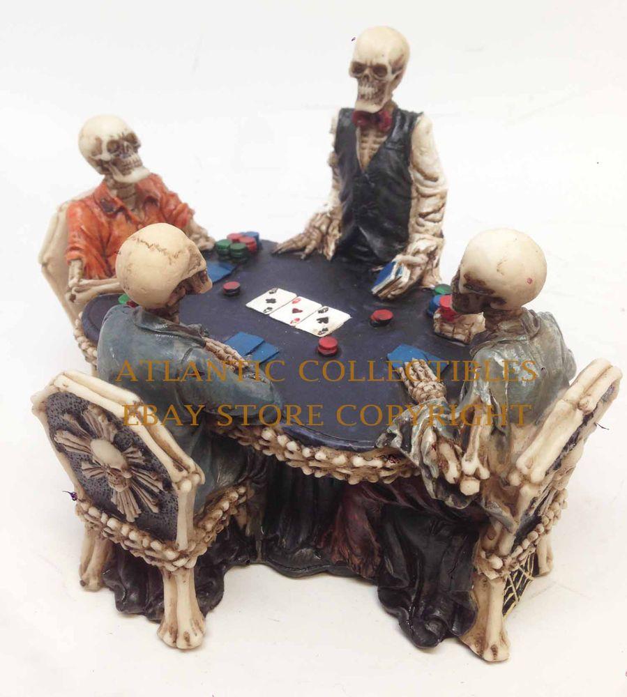 POKER GAMBLING DEN SKELETON GAMBLERS SKULL FIGURINE STATUE SCULPTURE HALLOWEEN