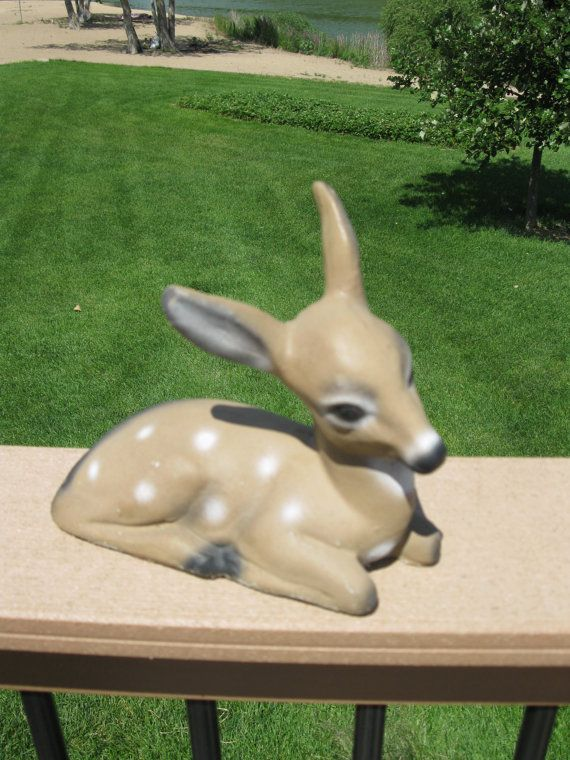 Vintage Cement Baby Deer Fawn Garden Decor Door Stop Lawn Decor Yard Ornament Yard Art Concrete Statue On Concrete Statues Yard Ornaments Baby Deer