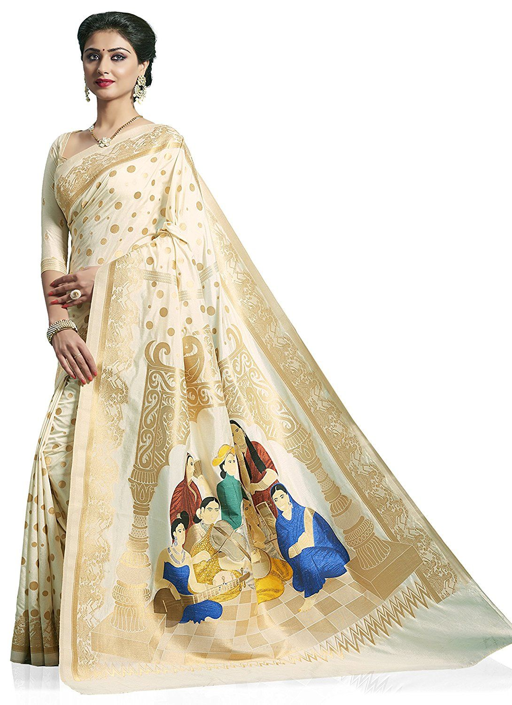 Meghdoot Artificial Silk Saree (ST254B_TASSAR_CP1 Cream Colour Traditional Sari)