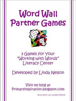 Weekly Freebie: FREE Word Wall Resource  fromLinda Nelsonon TpT    Partner Games for Your Class Word Wall