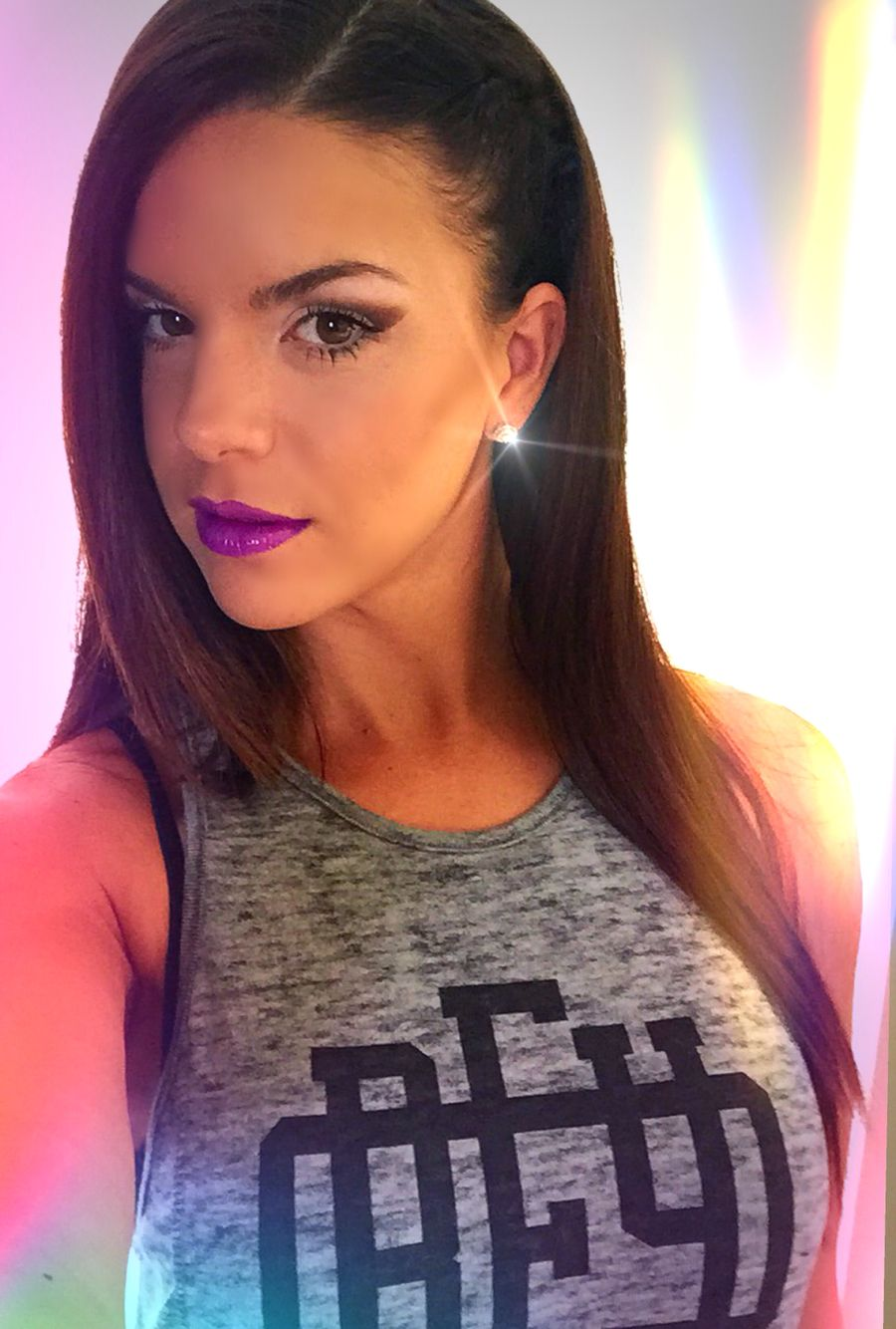 Bold Makeup for the Purple Lipgloss Lover - Long Hairstyle with Side Braid