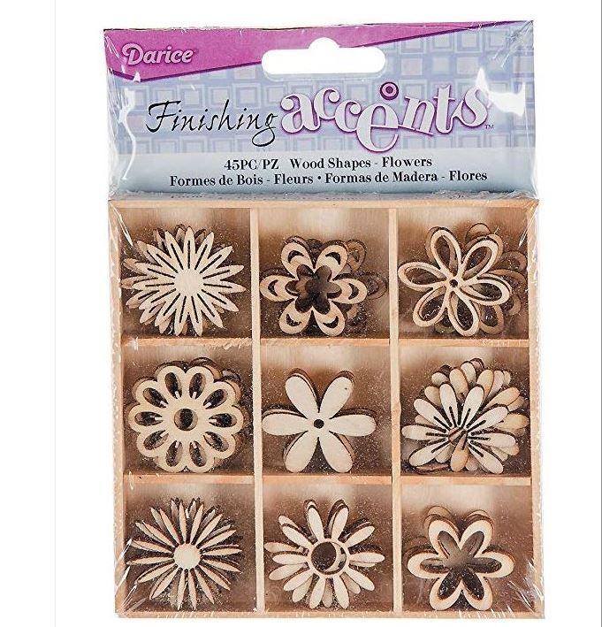 Set of 45 Mini Laser Cut Wood Flower Shapes