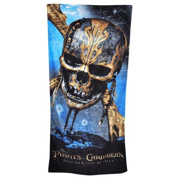 2140ff04aa06 Pirates of the Caribbean Kids Beach Towel Featuring Skull and Bones movie  poster graphic print on